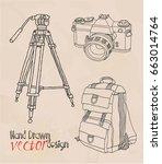 camera. retro set  | Shutterstock .eps vector #663014764