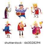 vector set of six cartoon... | Shutterstock .eps vector #663028294