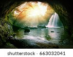 haew suwat waterfalls in khao... | Shutterstock . vector #663032041