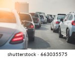 traffic jam on toll way with... | Shutterstock . vector #663035575