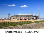 The construction of football stadium for the European Championship 2012. Gdansk, Poland. - stock photo