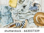 summer outfit flatlay. pastel... | Shutterstock . vector #663037339