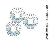 set gear wheel cog cooperation... | Shutterstock .eps vector #663038185