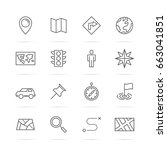 map vector line icons  minimal... | Shutterstock .eps vector #663041851