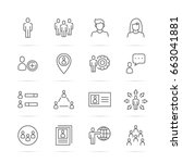 people vector line icons ... | Shutterstock .eps vector #663041881