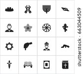 set of 16 editable religion... | Shutterstock .eps vector #663044509