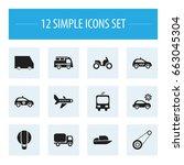 set of 12 editable... | Shutterstock .eps vector #663045304