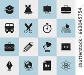 set of 16 editable school icons.... | Shutterstock .eps vector #663045754