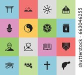 set of 16 editable religion... | Shutterstock .eps vector #663046255