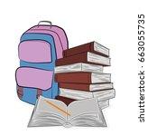 school items. books  notebooks  ... | Shutterstock .eps vector #663055735