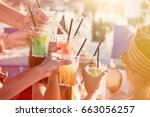 people drinking at party... | Shutterstock . vector #663056257
