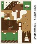 coffee poster vector... | Shutterstock .eps vector #663056821