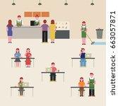 coffee shop people vector... | Shutterstock .eps vector #663057871