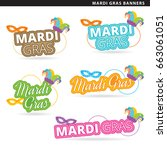 set of mardi gras banners in... | Shutterstock .eps vector #663061051