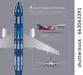 set of airplane with seat map... | Shutterstock .eps vector #663063391
