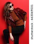 fashion model in sunglasses ... | Shutterstock . vector #663069031