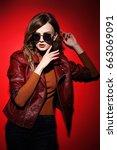 fashion model in sunglasses ... | Shutterstock . vector #663069091