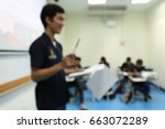 blurred student presents in... | Shutterstock . vector #663072289