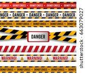 vector set of danger and police ... | Shutterstock .eps vector #663079027