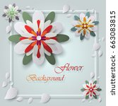 colorful paper flowers and...   Shutterstock .eps vector #663083815