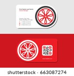red business card with a... | Shutterstock .eps vector #663087274