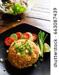 fried rice  traditional thai... | Shutterstock . vector #663087439