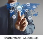 hand touch virtual icon of... | Shutterstock . vector #663088231