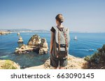 female traveler looking at the... | Shutterstock . vector #663090145