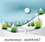 paper art landscape of... | Shutterstock .eps vector #663092467