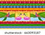 vector design of floral kitsch... | Shutterstock .eps vector #663093187