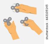 hands holding gray fidget... | Shutterstock .eps vector #663105145
