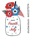 fourth of july card design.... | Shutterstock .eps vector #663107074