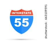 interstate highway 55 road sign | Shutterstock .eps vector #663109591