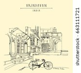 vintage bicycle in vrindavan ... | Shutterstock .eps vector #663111721