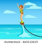 Woman Flyboarding. Summer Beac...