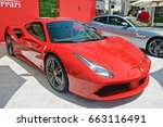Small photo of BEVERLY HILLS/CALIFORNIA - JUNE 18, 2017: Ferrari, a late model Italian sports car on display on Rodeo Drive. Beverly Hills, California USA