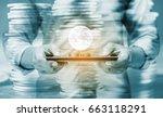 double exposure internet... | Shutterstock . vector #663118291