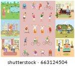 banner of retired elderly...   Shutterstock . vector #663124504