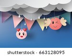 paper art of cat cartoon with... | Shutterstock .eps vector #663128095