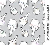 vector cartoon middle finger... | Shutterstock .eps vector #663128365