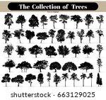 black tree silhouettes on white ... | Shutterstock .eps vector #663129025