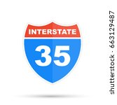 interstate highway 35 road sign | Shutterstock .eps vector #663129487