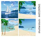 boats on the beach. sea sand... | Shutterstock .eps vector #663130561