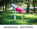 yoga in the park  outdoors  ... | Shutterstock . vector #663133051