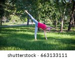 yoga in the park  outdoors  ... | Shutterstock . vector #663133111