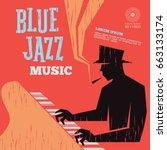 blue jazz music | Shutterstock .eps vector #663133174