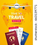 travel banner design. vacation... | Shutterstock .eps vector #663139771