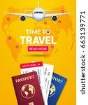 travel banner design. vacation... | Shutterstock .eps vector #663139771