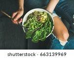 green vegan breakfast meal in... | Shutterstock . vector #663139969