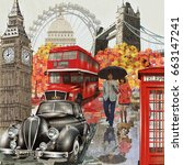 london vintage poster. | Shutterstock . vector #663147241